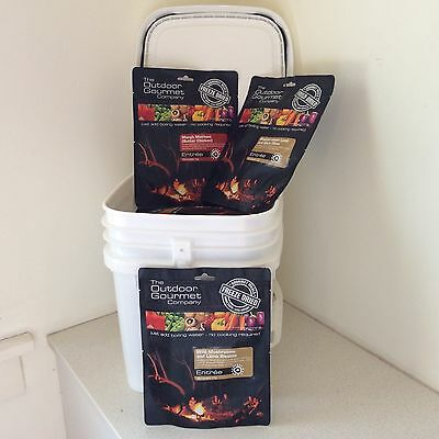 Outdoor Gourmet Freeze Dried Food Emergency in FREE Tub Choose 20 Single Pouches