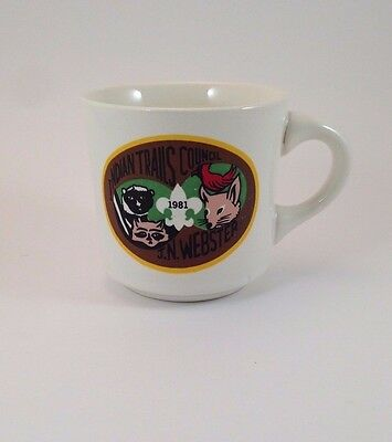 Boy Scouts of America BSA White Ceramic Cup Mug Indian Trails Council 1981