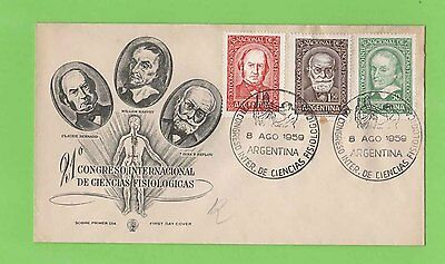 Argentina 1959 Physiological Congress set on illustrated First Day Cover