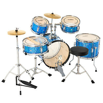 5 Piece Complete Junior Drum Set Cymbals Child Kids Kit with Stool & Sticks