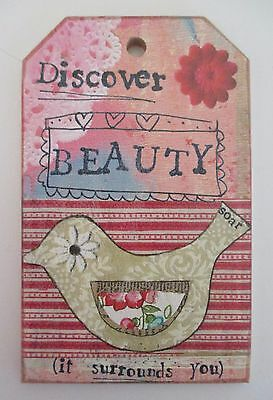 v DISCOVER BEAUTY it surrounds you KELLY RAE ROBERTS wood mini sign ornament