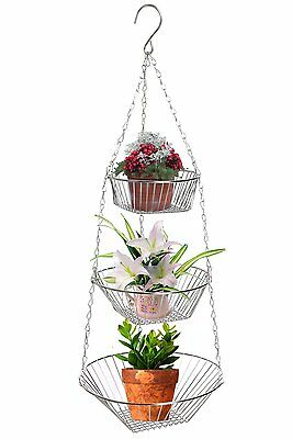 Kitchen Amazing Chrome Stainless Steel Hanging 3 Tier Fruit And Vegetable Basket