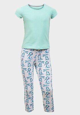 Girls 100% Cotton Bunny Rabbit Print Pyjamas 3 - 8 years