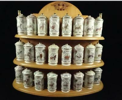 24 LENOX CAROUSEL PORCELAIN SPICE JARS, WITH SPICE RACK Preowned