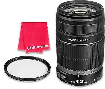 Canon EF-S 55-250mm f/4-5.6 IS II Lens with UV Filter & Cleaning Cloth