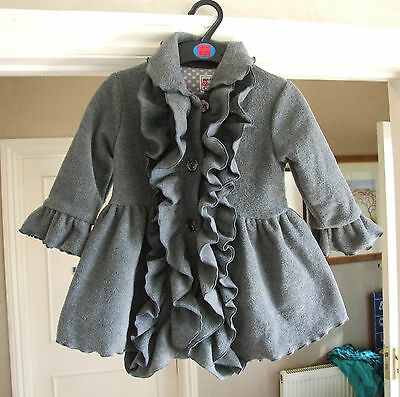 Absolutely Gorgeous Grey Frilly Coat 2 Year Old Baby Girl Incredibly Warm & Cute