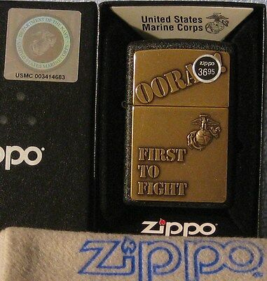 ZIPPO  MILITARY lighter US MARINE CORP  Emblem OORAH FIRST TO FIGHT Mint in Box