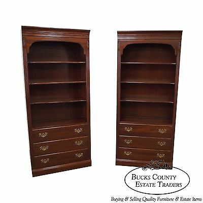 Ethan Allen Georgian Court Solid Cherry Pair of Bookcases