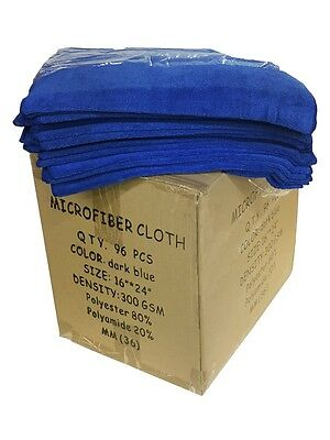 "96 Case Microfiber 300GSM Professional 16""x24"" Salon Towels (Dark Blue)"