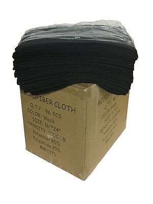 "96 Case Microfiber 300GSM Professional 16""x24"" Salon Towels (Black)"