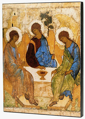"BIG 7.8"" RUSSIAN ORTHODOX ICON-THE HOLY TRINITY (TROITSA) Andrey Rublev1410-1427"