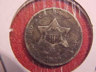 1852 P Three Cent Silver - Corrosion - F - See Pics! - (N3041)