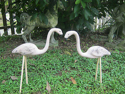 "Divine Vintage Terra Cotta Garden Flamingos Small 8"" Tall Rare Old Pottery"