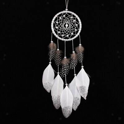 Dream Catcher Net with Pearl Like Beads Feathers Home Cafe Wall Decoration