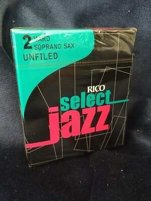 Rico Select Jazz Unfiled Soprano Saxophone Reeds Strength 2 Hard D'Addario 2H