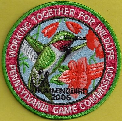 "Pa Pennsylvania Game Commission NEW 4"" WTFW 2006 Ruby-Throated Hummingbird Patch"