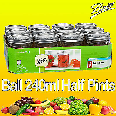 12 x Ball Mason Half Pint 240ml 8oz Regular Mouth Jars and Lids Weddings Parties