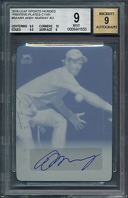 2016 Leaf Andy Murray Autograph Cyan Printing Plate 1/1 Auto BGS 9 (B&BEnt)