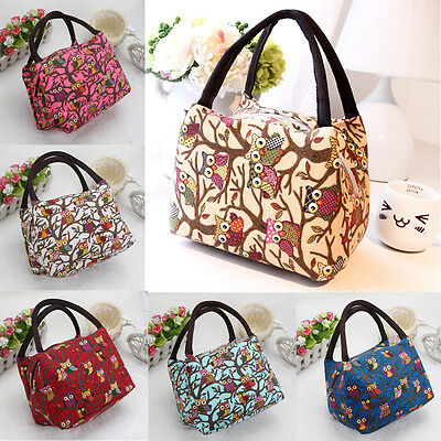 Cute Owl Thermal Insulated Tote Picnic Lunch Cooler Bag Box Handbag Pouch Bags