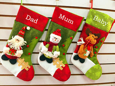 Personalized 3D Christmas stockings stocking gift collection bag 1 set of 3 pcs