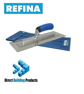 """Refina Superflex Stainless Steel Trowel 14"""" with Leather Protective Case"""