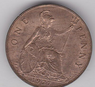 1927 George V Penny In Near Mint Condition
