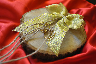 Piece of wood, wedding ring bearer cushion pillow-alternative for rings cushion