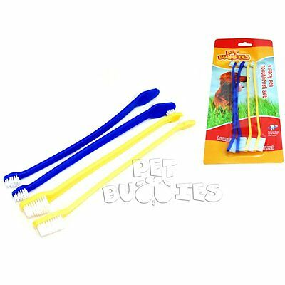 Dog Toothbrush Set Pack Of 4 Double Ended Large & Small Brush Head **free Del**
