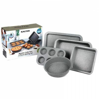 Salter Marble Coating Non Stick Grey 5 Pc Cake Biscuit Baking Tin Tray Pan Set