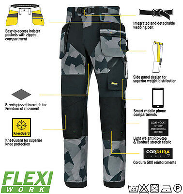 Snickers 6902 Flexiwork Ripstop Holster Trousers Mens Snickers Ripstop Grey