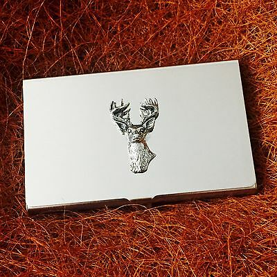 Business and Credit Card Holder with Pewter Monarch Stag Deer Hunting Emblem