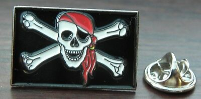 Jolly Roger Flag Lapel Tie Hat Cap Pin Badge Rebel Skull & Crossbones Biker