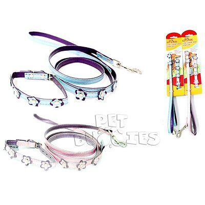 Small Dog Puppy Collar And Lead Leash Adjustable Pink/blue Flowers *free Del**