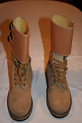 US WW2 Army Leather Double Buckle BOOTS - WW2 Repro size 8