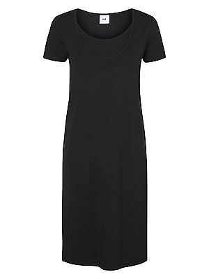 BNWT SS Mamalicious Maternity Nursing Breastfeeding Dress Organic Cotton Black