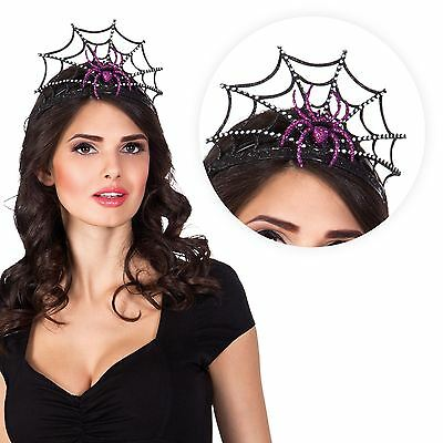 Ladies Purple Glittery Spider Tiara Crown Headpiece Headband Halloween Web UK