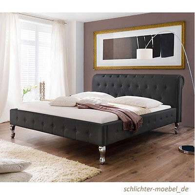 barock polsterbett kunstlederbett designerbett bett modern 200x200 cm wei eur 479 00. Black Bedroom Furniture Sets. Home Design Ideas