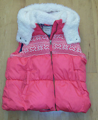 Girls Next Pink Fleece Lined Hooded Padded Gilet Age 11-12.