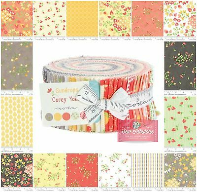 "Moda Jelly Roll 40 of 2.5"" x 42"" Fabric strips in 'Sundrops' Design 100% Cotton"