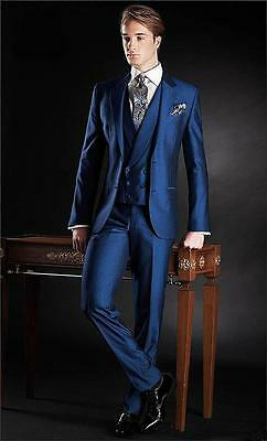 2018 New Custom 3 Piece Sim Fit Blue BestMan Groomsman Men's Wedding/Prom Suits