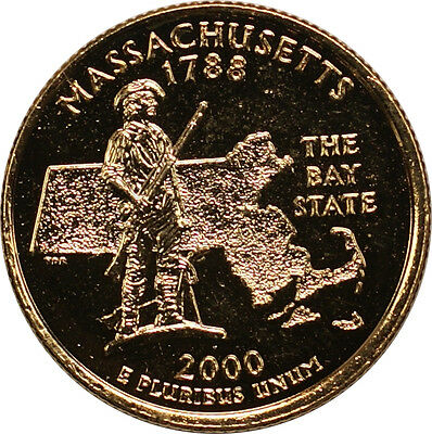 2000-D Massachusetts State Quarter Gold Plated Coin