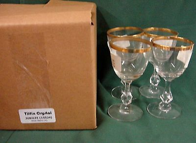 """Tiffin 15524 JUBILEE GOLD 5"""" Wine Stems  SET OF FOUR Encrusted MINT IN BOX"""