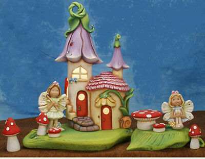 Ceramic Bisque Ready to Paint Lighted Fairy Manor, bases, fairies, & Toadstools
