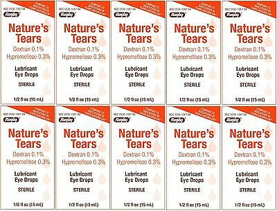 Natures Tears Eye Lubricant Drops Generic Tears Naturale 15 ml Bottle PACK of 10