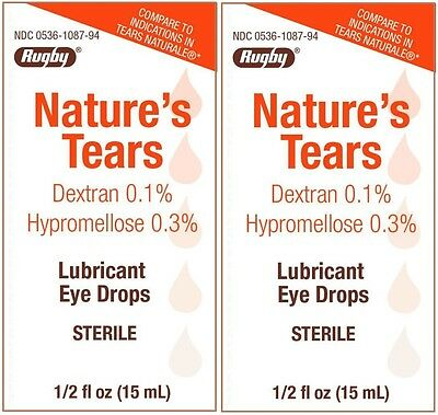 Natures Tears Eye Lubricant Drops Generic Tears Naturale 15 ml Bottle PACK of 2