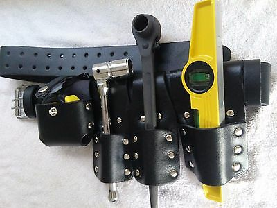 Scaffolding Black Thick Leather Tool Belt Set with Full Tools - Heavy Duty
