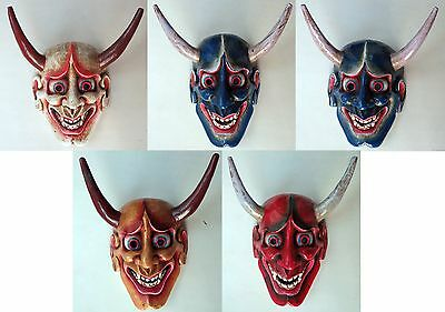 Wood Mask: Japanese Demon Oni Devil Japan Nepal Wall Hanging Red Blue White Gold