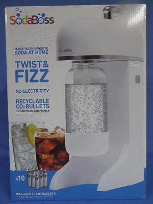 NIB SodaBoss Soda Boss Pop Twist & Fizz Soda Maker with 10 CO2 Bullets BPA Free