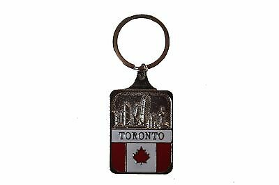 Toronto Skyline , Canada Flag Metal Keychain  .. New