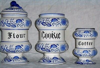 Lot Set 3 Blue Onion Coffee Cookie Flour Jar ARNART Crossed Arrows Containers